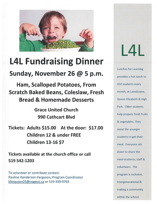 November 2017 L4L (Lunches for Learning) Dinner